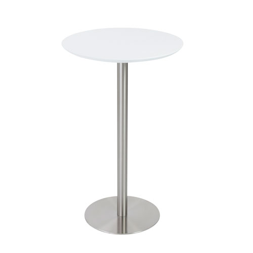 Cookie Bar Table in Matte White with Brushed Stainless Steel Base and Column