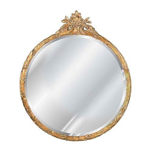 Antique Gold Round Flower Basket Mirror