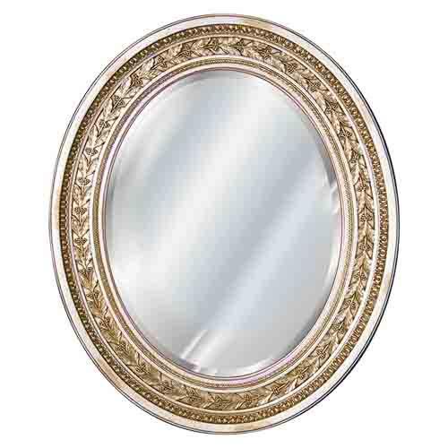 Antique Leaf Oval Beveled Mirror