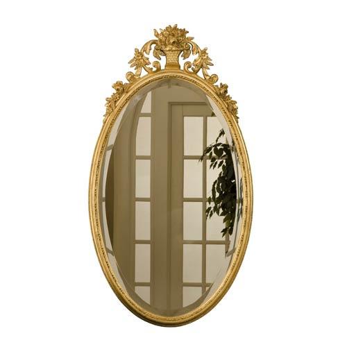 Oval Flower Basket Gold Leaf Mirror