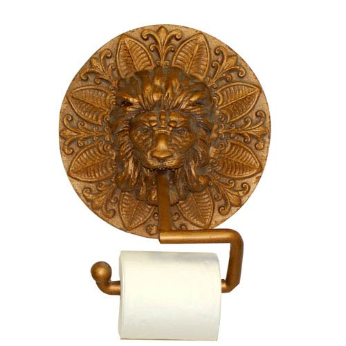 Hickory Manor House Round Lion Plaque Antique Gold Toilet Paper Holder