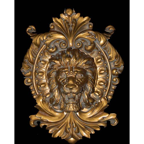 Lion Antique Gold Medallion Plaque