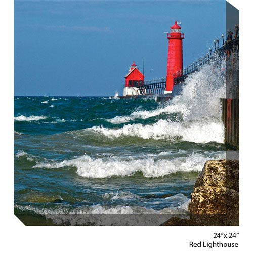 West Of The Wind Designs Red Lighthouse by Dennis Butera: 24 x 24 All Weather Outdoor Photograph Canvas Giclee