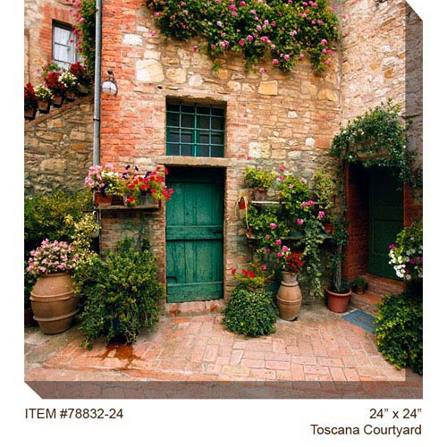 West Of The Wind Designs Toscano Courtyard: 24 x 24 Outdoor Canvas Art