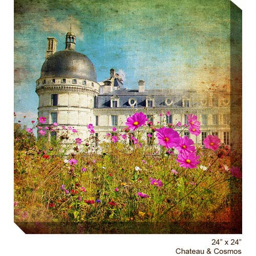 West Of The Wind Designs Chateau and Cosmos: 24 x 24 All Weather Outdoor Photograph Canvas Giclee