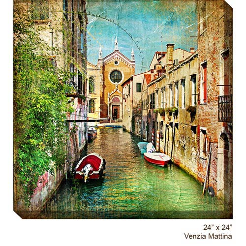 West Of The Wind Designs Venezia Mattina: 24 x 24 All Weather Outdoor Photograph Canvas Giclee
