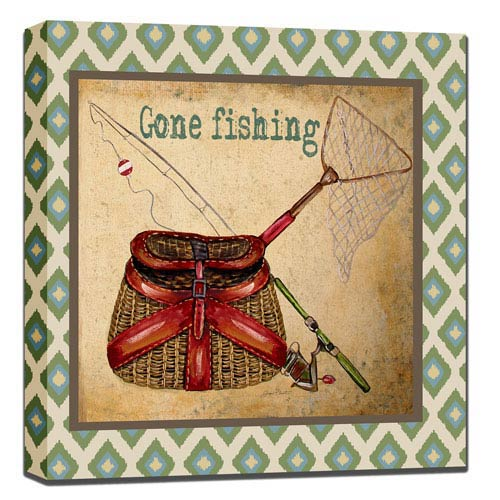 Gone Fishing: 24 x 1.5 x 24-Inch Giclee Painting