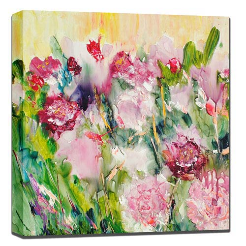 West Of The Wind Designs Peonies In Pink: 24 x 1.5 x 24-Inch Giclee Painting