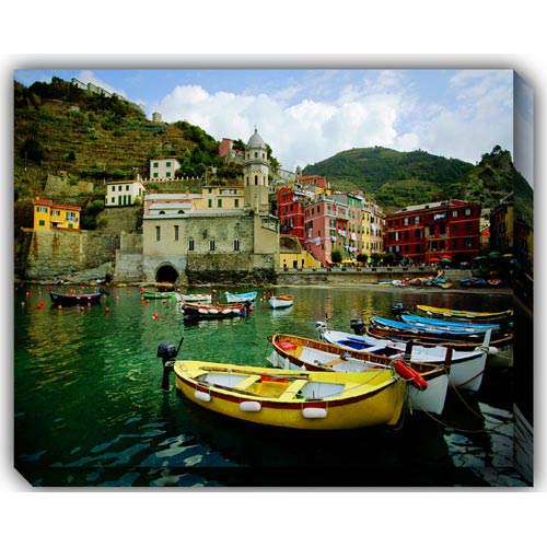 West Of The Wind Designs Boat In Vernazza: 40 x 30 Outdoor Canvas Giclee