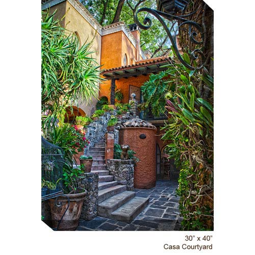West Of The Wind Designs Casa Courtyard by Kis Kistner 30 x 40 All Weather Outdoor Photograph Canvas Giclee