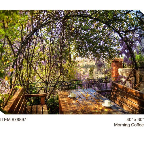 West Of The Wind Designs Morning Coffee: 40 x 30 Outdoor Canvas Art