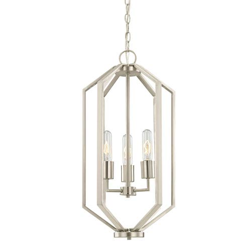 Hexagon Satin Nickel 12-Inch Three Light Chandelier
