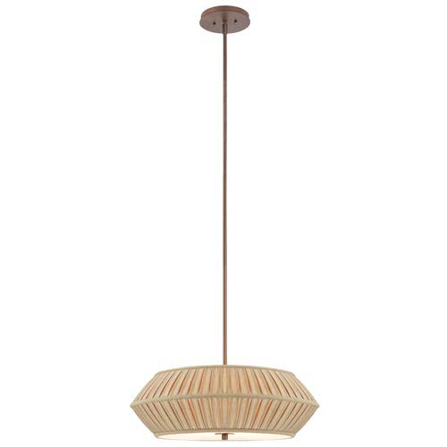 Dolan Designs Sunrise Classic Bronze Large Three-Light Pendant with Pleated Shade