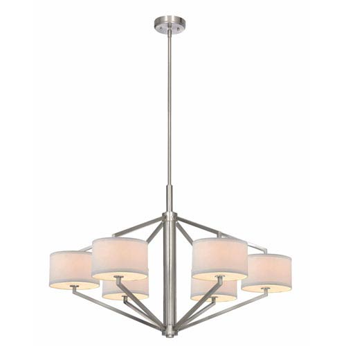 Dolan Designs Monaco Six-Light Large Satin Nickel Chandelier