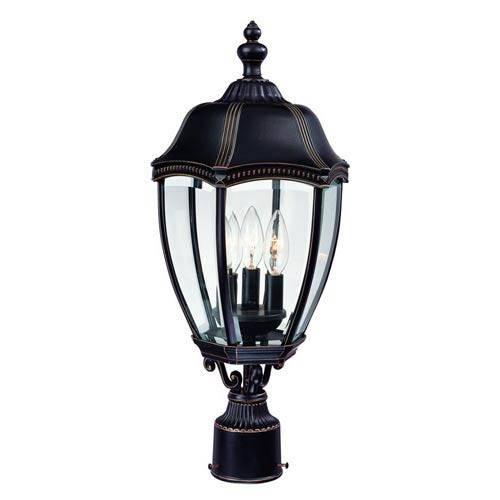 Roseville Antique Bronze Three-Light Outdoor Post Light