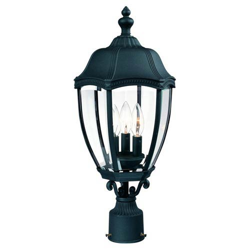 Roseville Black Three-Light Outdoor Post Light
