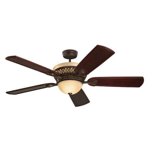 Braddock 54-Inch Venetian Bronze Ceiling Fan with Amber Mist Glass