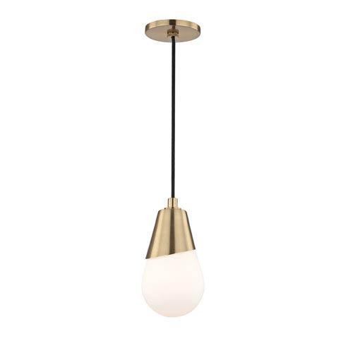 Mitzi by Hudson Valley Lighting Cora Aged Brass 5-Inch One-Light Mini Pendant
