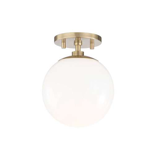 Stella Aged Brass 7-Inch One-Light Semi-Flush Mount