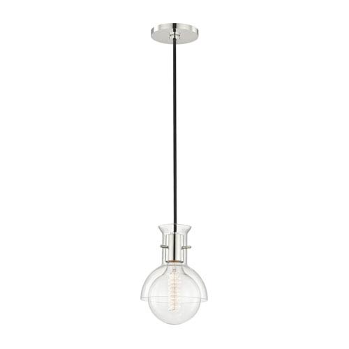 Riley Polished Nickel 6-Inch One-Light Mini Pendant with Clear Glass