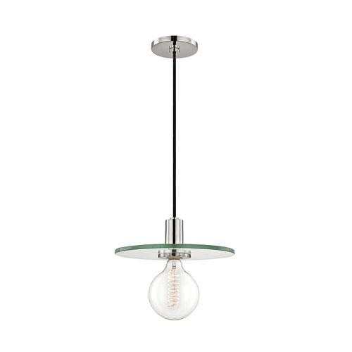 Mitzi by Hudson Valley Lighting Peyton Polished Nickel 13-Inch One-Light Pendant