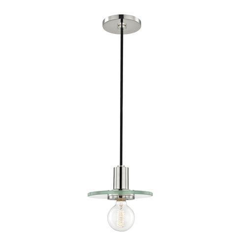 Mitzi by Hudson Valley Lighting Peyton Polished Nickel 8-Inch One-Light Mini Pendant