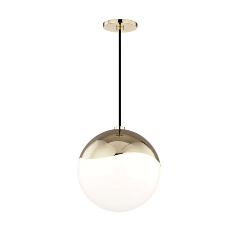 Ella Polished Brass 11-Inch One-Light Pendant
