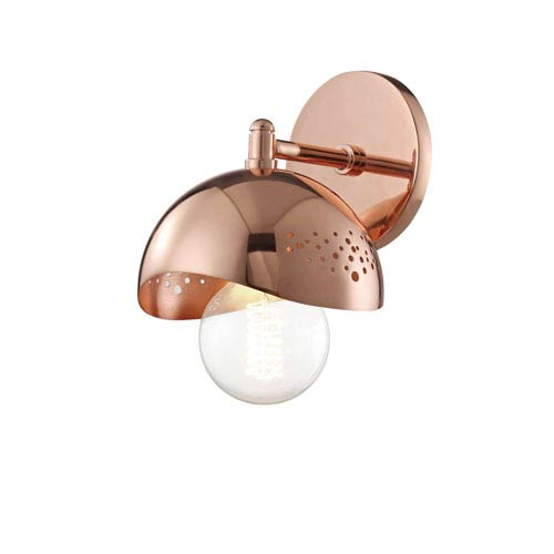 Mitzi by Hudson Valley Lighting Heidi Polished Copper 6-Inch One-Light Wall Sconce