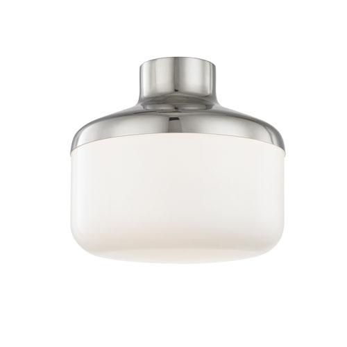 Mitzi by Hudson Valley Lighting Livvy Polished Nickel 12-Inch One-Light Flush Mount
