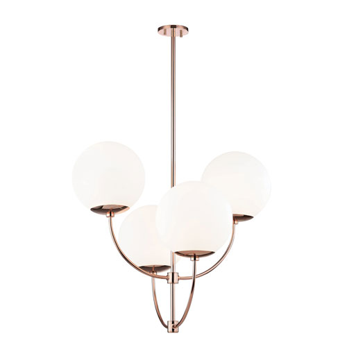 Carrie Polished Copper 30-Inch Four-Light Chandelier