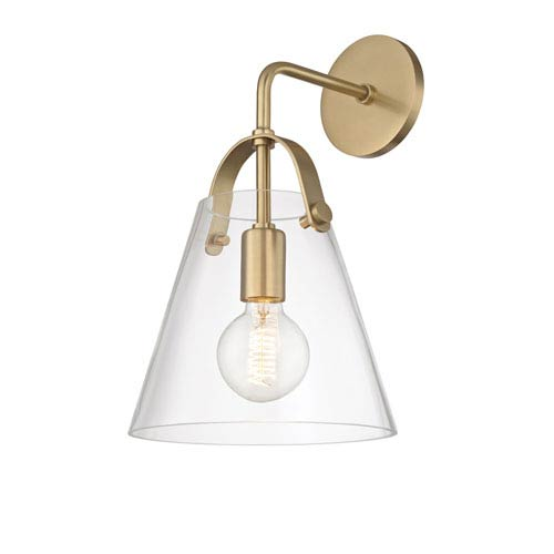 Mitzi by Hudson Valley Lighting Karin Aged Brass 9-Inch One-Light Wall Sconce