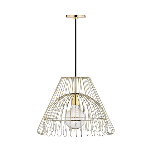 Mitzi by Hudson Valley Lighting Katie Polished Brass 18-Inch One-Light Pendant