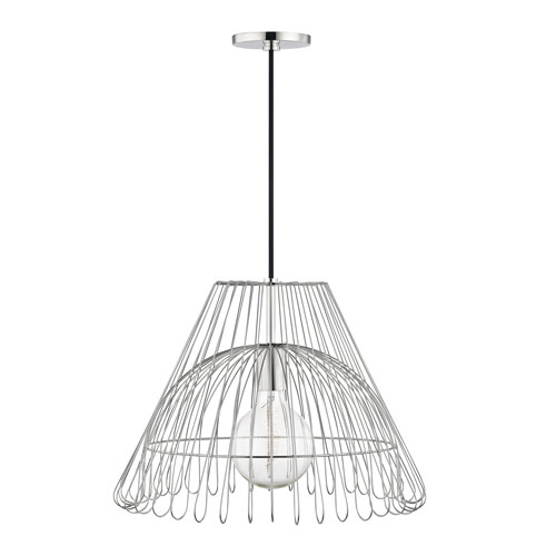 Mitzi by Hudson Valley Lighting Katie Polished Nickel 18-Inch One-Light Pendant