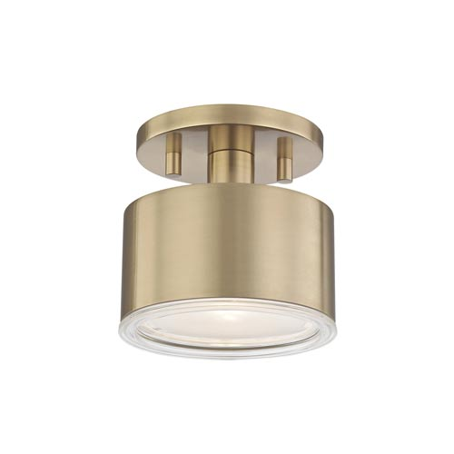 Mitzi by Hudson Valley Lighting Nora Aged Brass 5-Inch LED Flush Mount