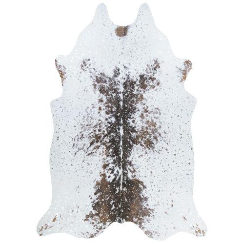 Prairie Hides Gjovik Ivory-Black Animal Skin: 5 Ft. 6 In. x 6 Ft. Rug