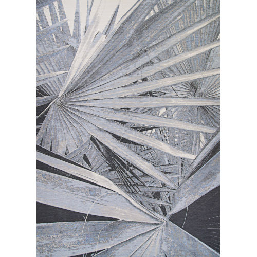 Dolce Kalamiaris Palms Silver 4 Ft. x 5 Ft. 10 In. Rectangular Indoor/Outdoor Area Rug