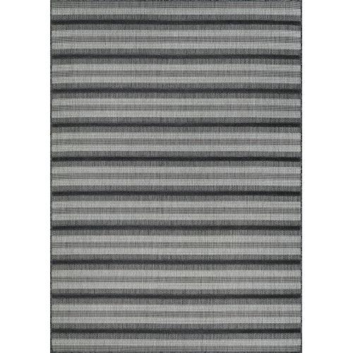 Veranda Havasu Stripe Gray and Coal 7 Ft. 10 In. x 10 Ft. 9 In. Rectangular Indoor/Outdoor Area Rug