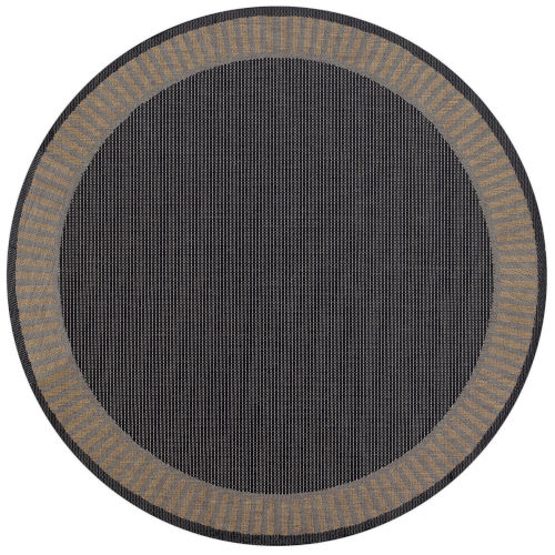Recife Wicker Stitch Black and Cocoa 8 Ft. 6 In. Round Indoor/Outdoor Rug