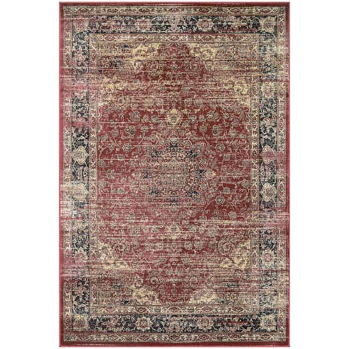 Couristan Zahara Persian Vase Red, Black and Oatmeal Runner: 2 Ft. x 3 Ft. 7-Inch