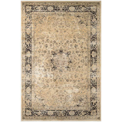 Zahara Persian Vase Black and Oatmeal Runner: 2 Ft. x 3 Ft. 7-Inch