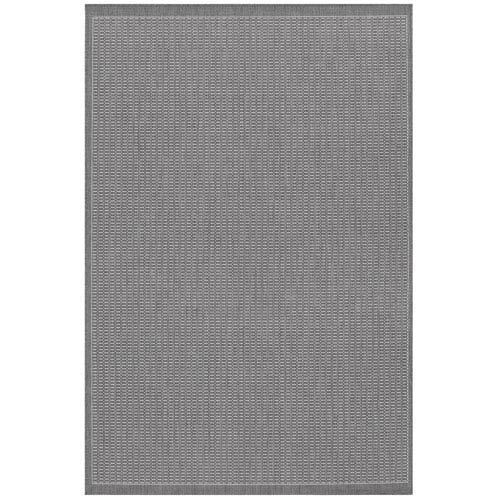 Couristan Recife Saddle Stitch Grey and White 8 Ft. 6 In. X 13 Ft. Indoor/Outdoor Rectangular Rug