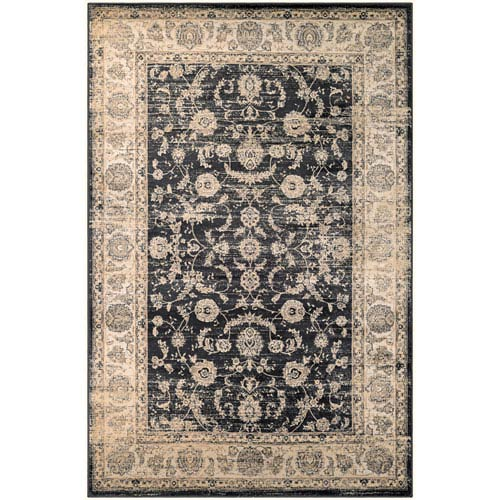 Zahara Floral Emblem Black and Oatmeal Runner: 2 Ft. x 3 Ft. 7-Inch