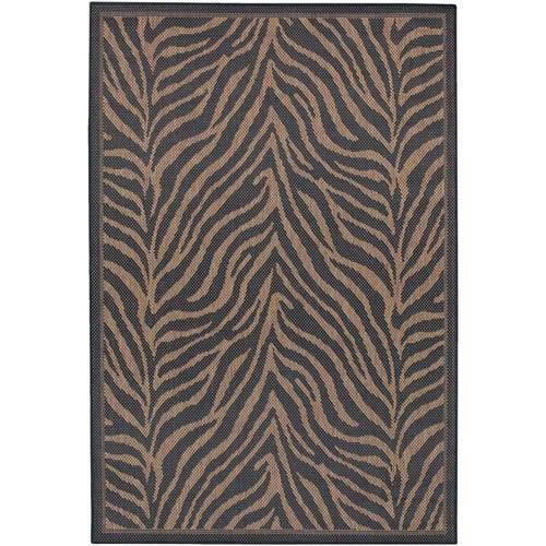 Recife Zebra Black and Cocoa Rectangular: 5 ft. 10 in. x 9 ft. 2 in. Rug