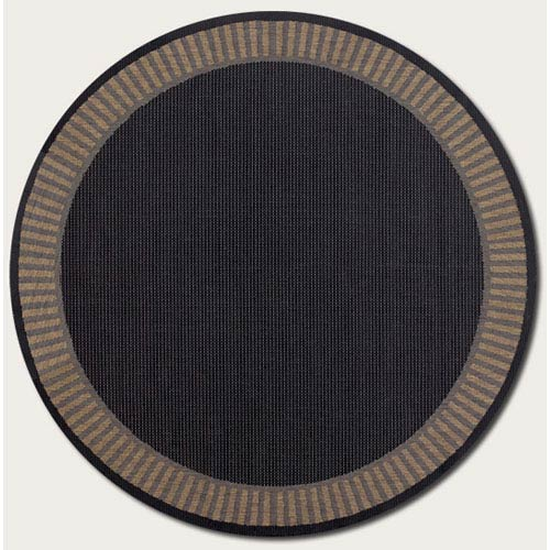 Recife Wicker Stitch Black and Cocoa 7 Ft. 6 In. Round Indoor/Outdoor Rug