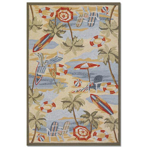 Outdoor Escape Pacific Heights Ocean Rectangular: 5 ft. 6 in. x 8 ft.  Rug