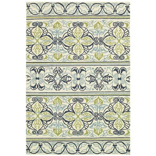 Couristan Covington Pegasus and Ivory-Navy-Lime Rectangular: 5 Ft. 6 In. x 8 Ft. Rug