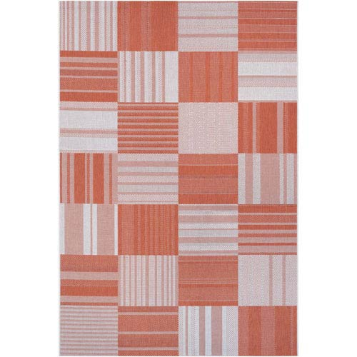 Afuera Patchwork Pumpkin and Ivory Rectangular: 3 Ft 11 In x 5 Ft 7 In Rug