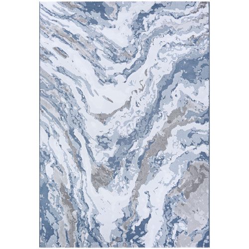 Serenity Abstract Marble Grey and Opal Rectangular: 2 Ft. x 3 Ft. 11 In. Rug