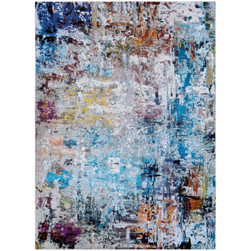 Gypsy Aquarelle Bone and Multicolor Rectangular: 3 Ft. 6 In. x 5 Ft. 6 In. Rug
