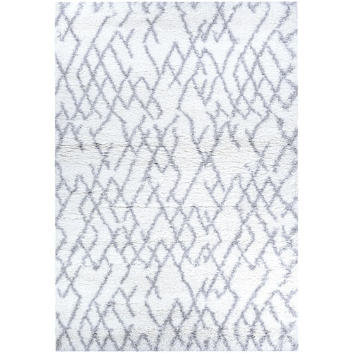 Urban Shag Fes White and Light Grey Rectangular: 2 Ft. x 3 Ft. 11 In. Rug